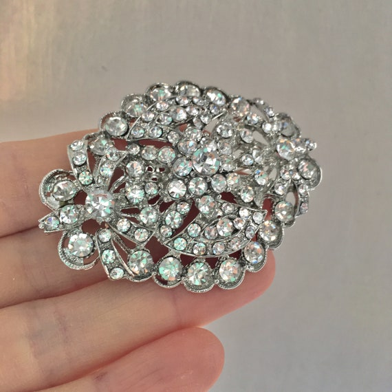 """3/"""" SILVER BUTTERFLY FLOWER PEACOCK BROOCH DIAMANTE CRYSTAL WEDDING PARTY BROACH"""