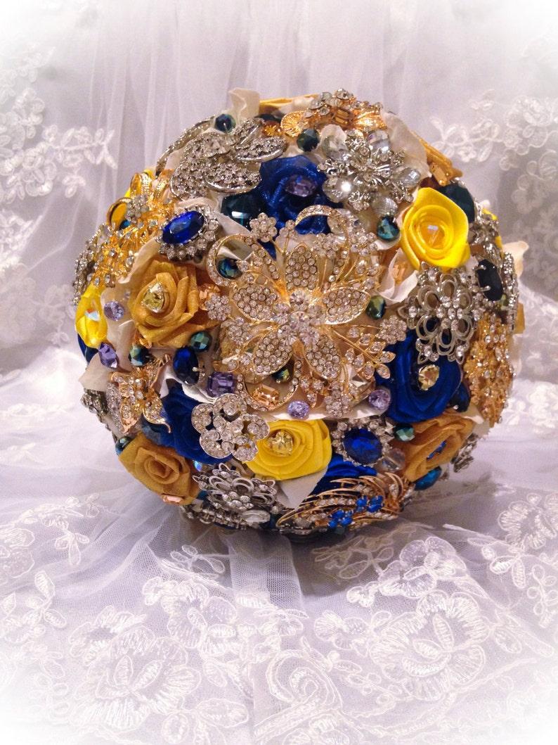 Blue Yellow Bridal Brooch Bouquet Deposit On Custom Royal Etsy