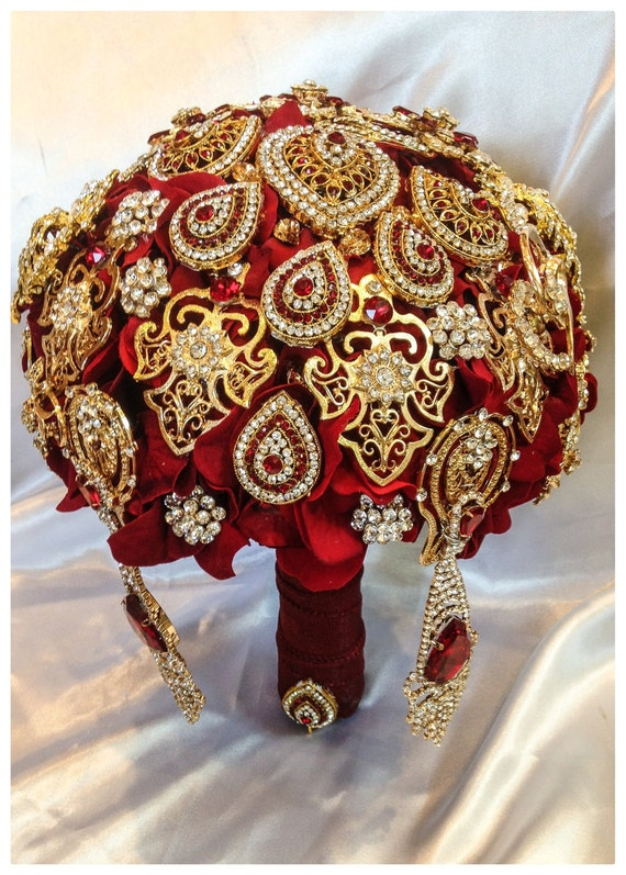FULL PRICE on made to order Crystal Bling Brooch Bouquer Luxurious Merlot Ruby Red Silver Brooch Bouquet