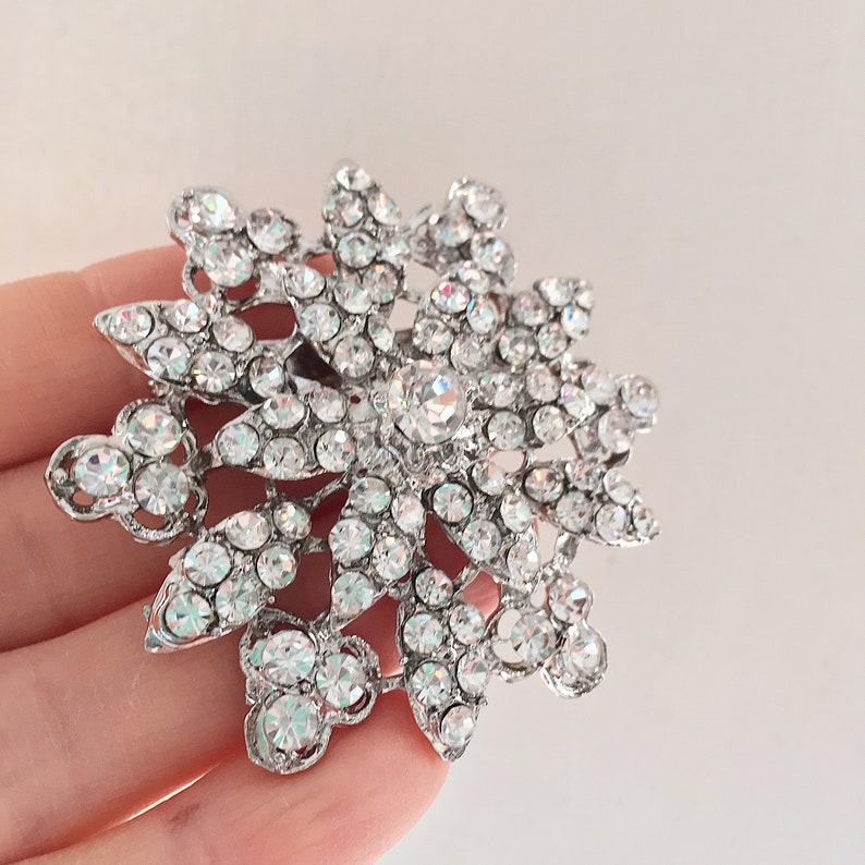 5e8b1daaf59 Vintage Silver Wedding Brooch Art Deco Crystal Bouquet | Etsy