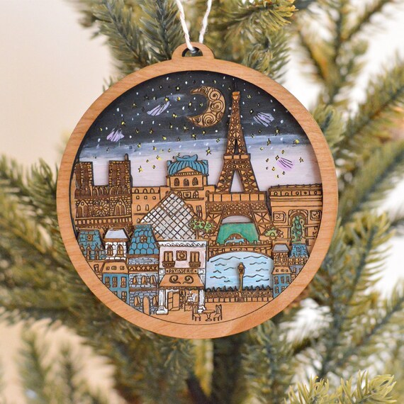 Paris Christmas Ornament.Paris Christmas Ornament Paris Tree Ornament Custom Tree Ornament Gift For Travelers Personalized Christmas Tree Ornament