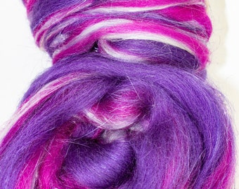 Purple Pink Silver Hand Pulled Roving for Spinning Felting