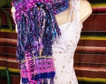 Wildest Art Yarn Scarf Handspun Chunky Extreme Tailspun Art Yarn Scarf Weaving Art Yarn Artistic Yarn Gothic Chic Boho Yarn