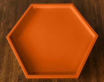 Orange Hexagonal Tray, Orange Serving Tray, Hermes Orange,Orange Ottoman Tray, Halloween Serving Tray