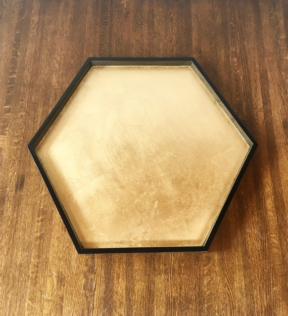 Black & Gold Leaf Hexagonal Tray Ottoman Tray Hexagon