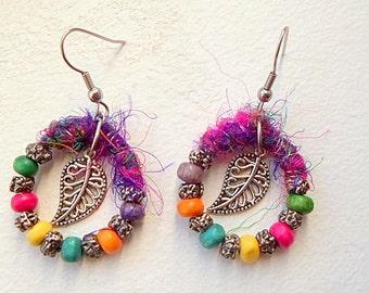 Silver leaves, pearls and multi-colored silk sari, hoop earrings