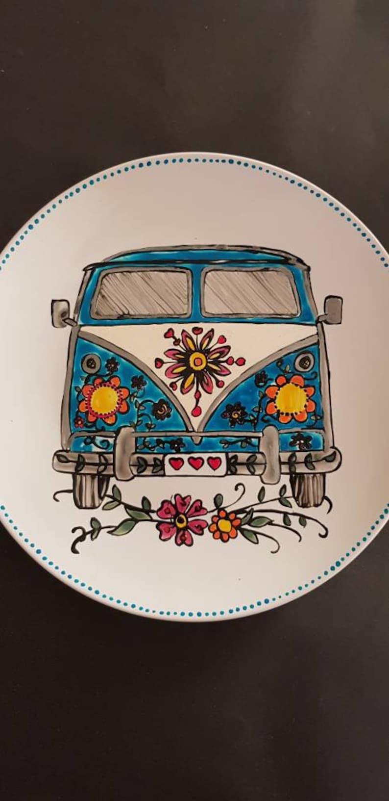 Large hand painted Vw camper van plate