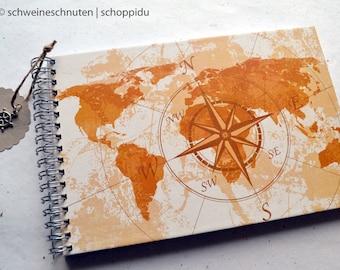 Reisetagebuch Din A5 Weltkarte Holzdesign Schreibwaren Notizbucher