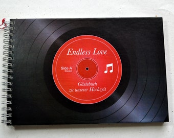 Ring enumeration DIN A5, vinyl record design, grey paper, drawing paper, guestbook, 2nd choice