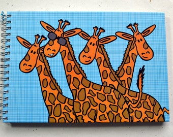 Ring enumeration DIN A5, giraffe design, grey paper, drawing paper, guestbook, 2nd choice