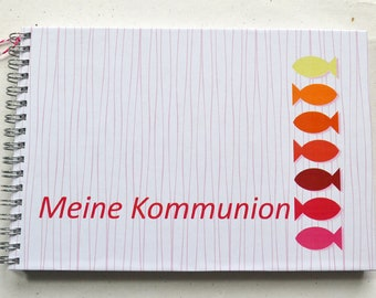 Ringbuch DIN A5 - Guestbook, Communion, Fish, Orange, Red, Pink, Yellow, 2nd choice