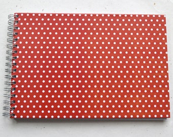 Ring liner DIN A5 - Polkadots red, graph paper inside, 2nd choice