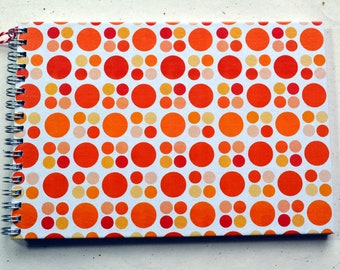 Ring liner DIN A5 - Retro 70s pattern, dots orange red, lined paper, 2nd choice