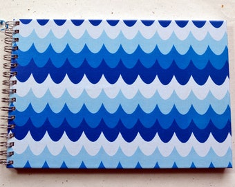 Ring liner DIN A5 - Recipe book, wave patterns, blue tones, fish recipes, 2nd choice