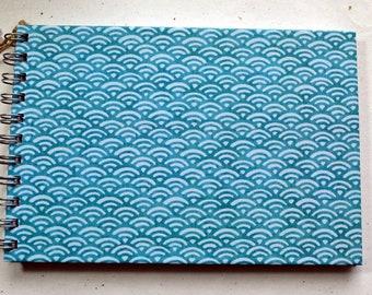 Ringbuch DIN A5, Japanisches Wellenmuster, Türkis, Dotted Papier, gepunktetes Papier, 2. Wahl