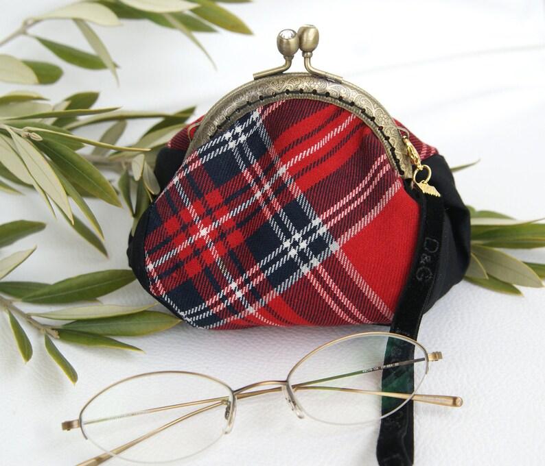 Kiss lock Pouch Coin red tartan Purse Bag vintage needlework coin purse pocket Cash pouch purse frame velvet strap