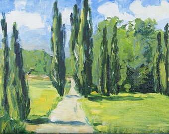 Original oil painting landscape italian cypress Art contemporary classical painting original art acrylic home decor wall art canvas fine art