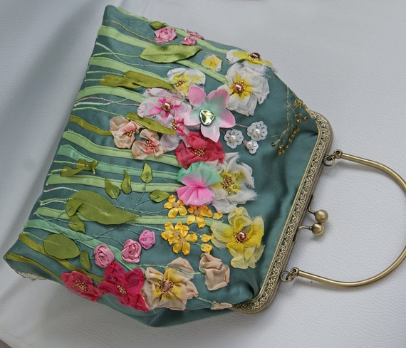 Emerald Evening Bag Ribbon Embroidery Bag Stumpwork 60th