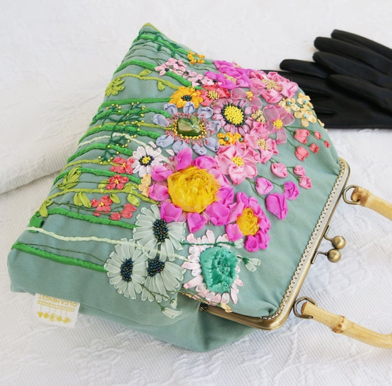 Silk Ribbon Embroidered Evening Bag Hand Embroidery Ribbonwork Etsy