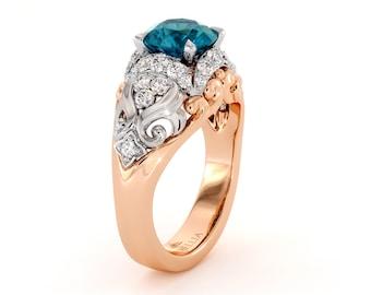 Vintage 9k Diamond Cluster engagement Ring with Wave Design