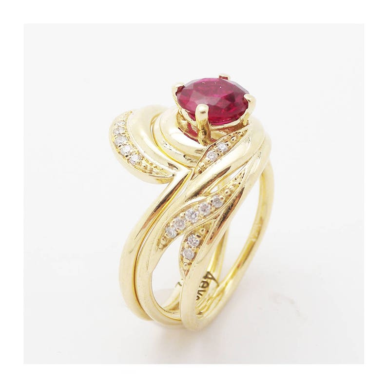 Ruby Wedding Rings.Unique Design Ruby Wedding Ring Set In 14k Yellow Gold Ruby Engagement Rings Vintage Styled Bridal Set 1 Carat Ruby Wedding Rings