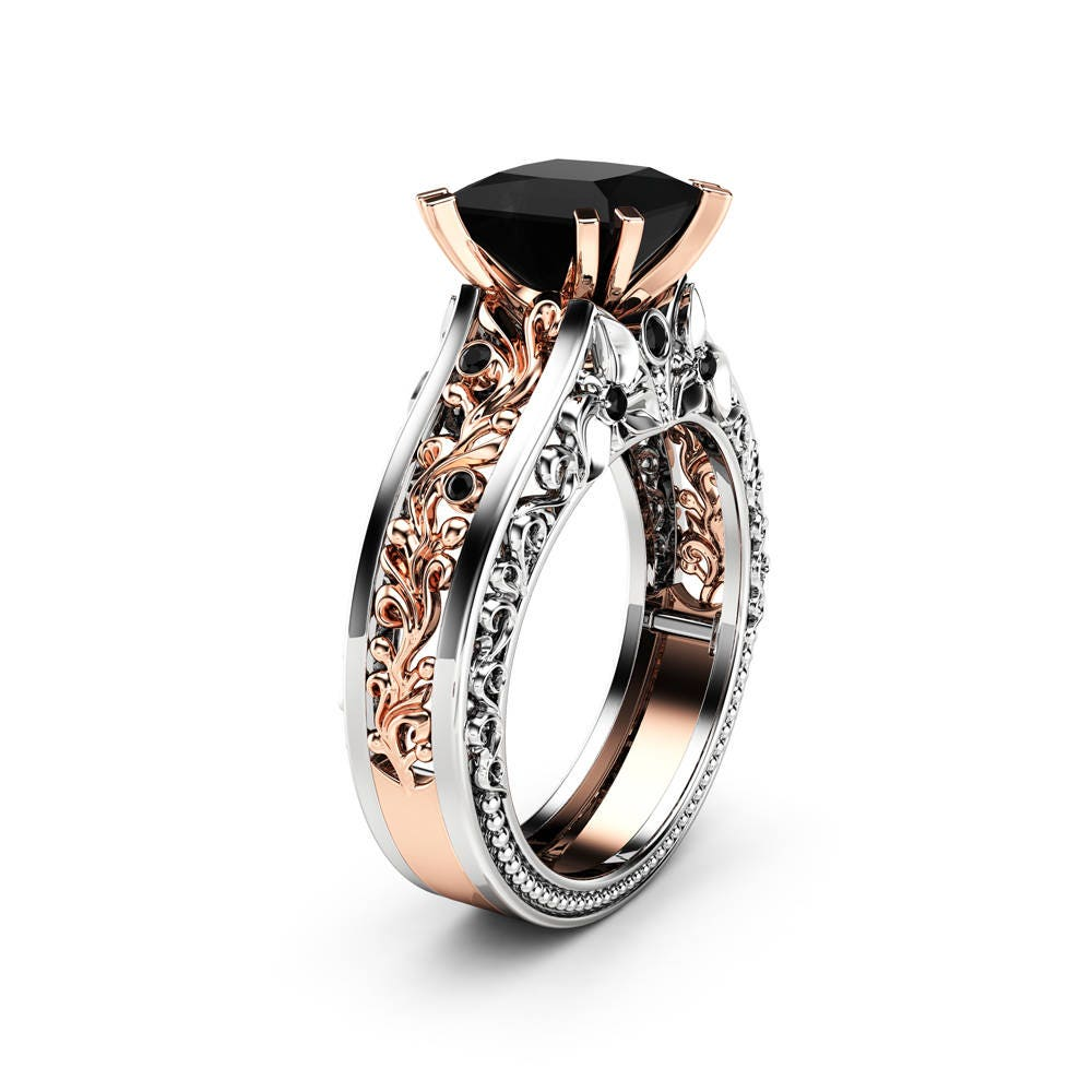 Engagement Rings With Black: Princess Black Diamond Engagement Ring 14K Two Tone Gold