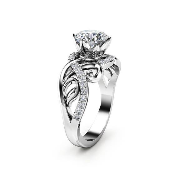 Diamant bague de fiançailles en 18K or blanc diamant Style Vintage bague de fiançailles par Ayala bijoux