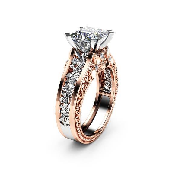 24ad6ecedd13b Art Deco Moissanite Engagement Ring Vintage 14K Two Tone Gold