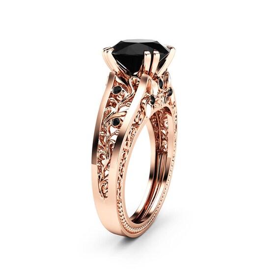 Handgemachte Schwarzer Diamant Verlobungsring 14k Rose Gold Etsy