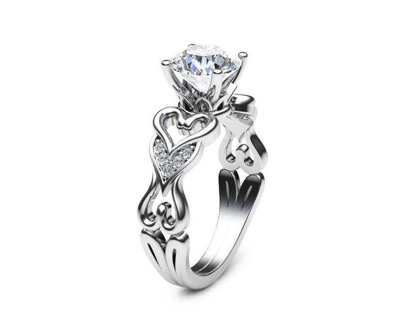 d84dc0bdb9e7c Heart Shaped Moissanite Engagement Ring 14K White Gold Moissanite Ring  Unique Heart Shaped Engagement Ring Art Deco Styled Wedding Ring