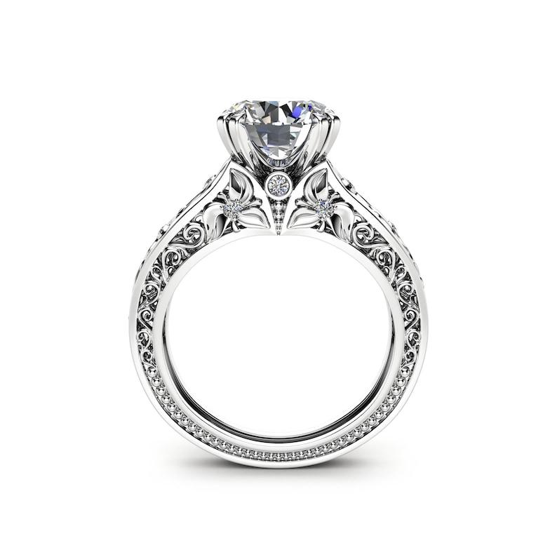 Filigree Design Moissanite Engagement Ring Unique 2 Carat image 0