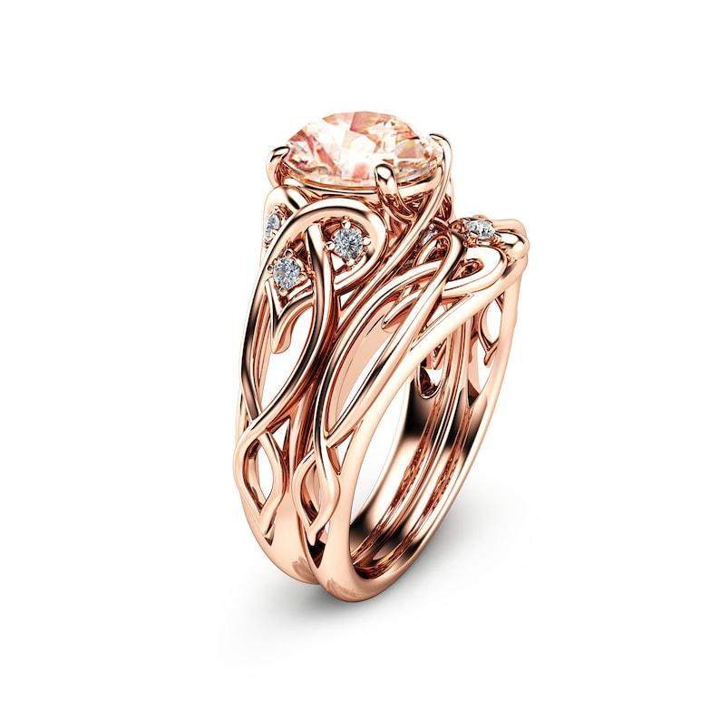 2 Carat Morganite Engagement Rings 14k Rose Gold Ring Set Etsy