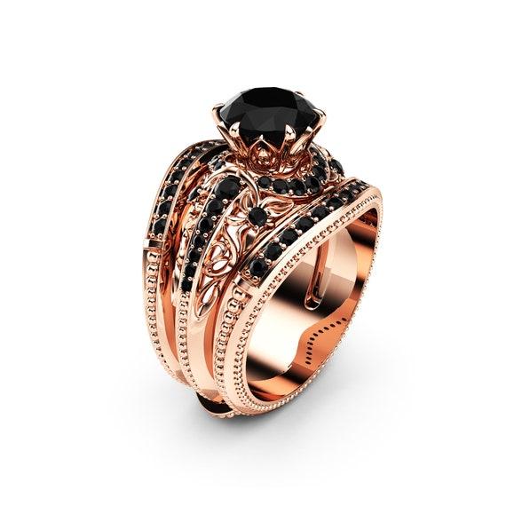 super economico rispetto a grande liquidazione dettagli per Diamante nero anello di fidanzamento guardia insieme 14k oro rosa anello di  fidanzamento diamante naturale nero anello insieme