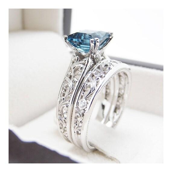 London Blue Topaz Engagement Ring Set Princess Cut Topaz Etsy