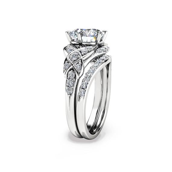 Lab Created Diamond Wedding Ring Set 14k White Gold Unique Etsy