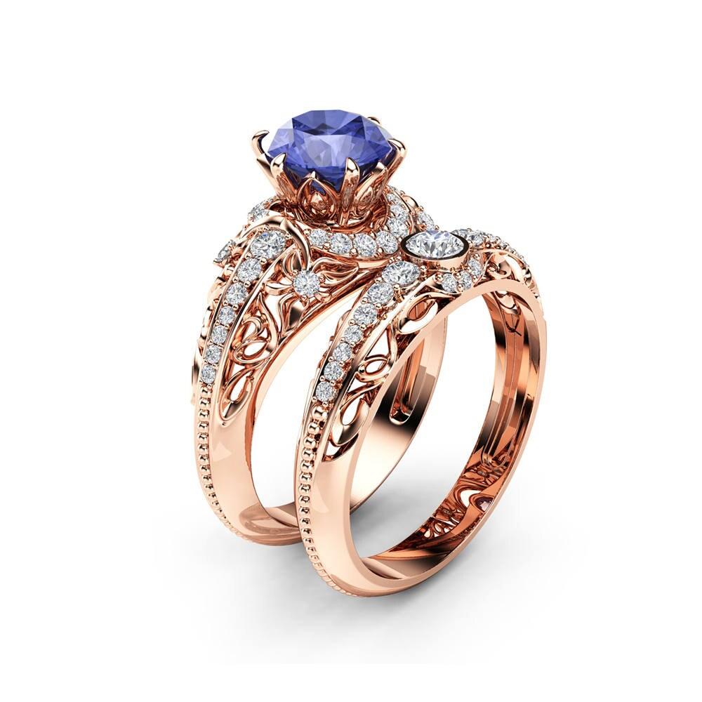 Tanzanite Engagement Ring Set 14K Rose Gold Diamonds Rings ...