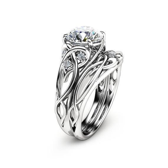 14k White Gold Diamond Unique Engagement Ring Set Unique Etsy