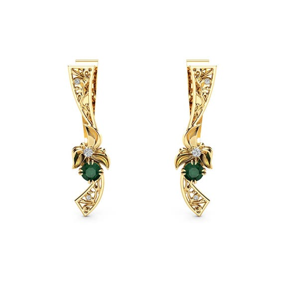 Unique Emerald Earrings Floral 14K Yellow Gold Earrings