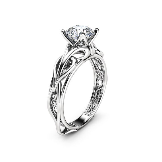 14K White Gold Round Diamond Ladies Wedding Band Swirl Stackable Ring Size 6