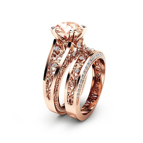 Rose Gold Morganite Engagement Ring Set Unique 2 Carat Etsy