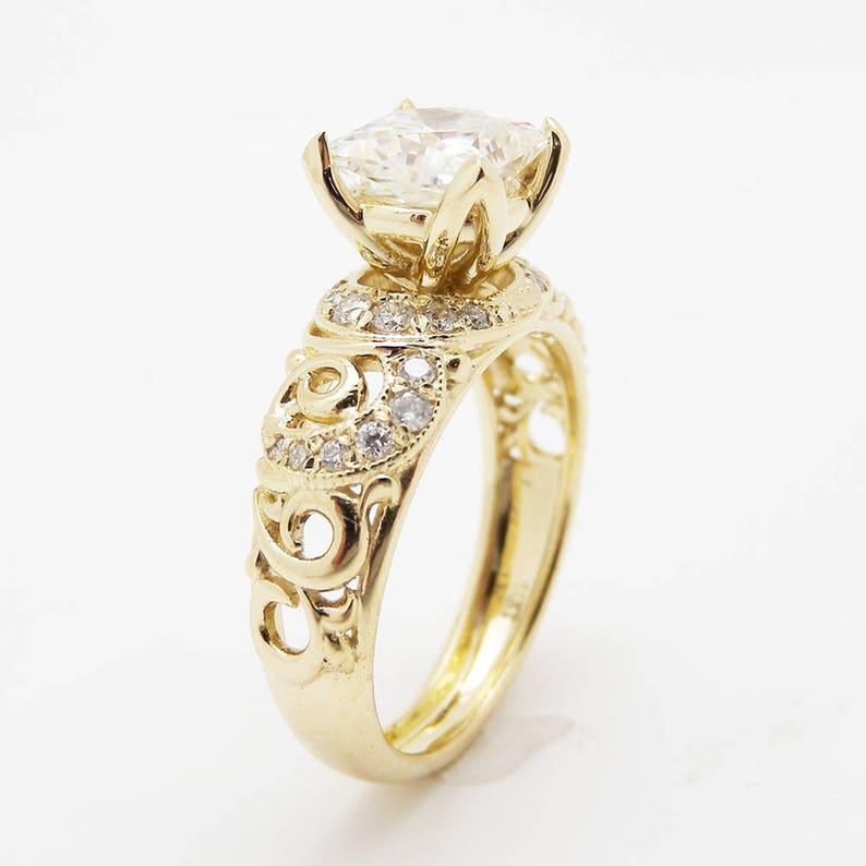 62395c9b0e87b Unique Princess Cut Engagement Ring 14K Yellow Gold Princess Cut Moissanite  Ring Art Deco Engagement Ring