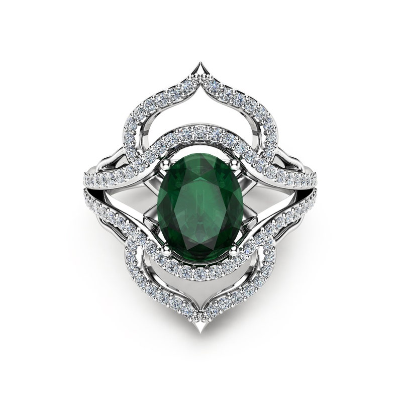 9a7292ed0bea9 Oval Emerald Cocktail Ring 14K White Gold Right Hand Ring Oval Emeral  Cocktail Ring Unique Vintage Ring