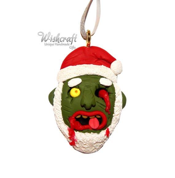 Christmas Zombie Santa.Zombie Santa Christmas Tree Decoration Zombie Christmas Ornament Polymer Clay Clay Zombie Zombie Figure Santa Christmas