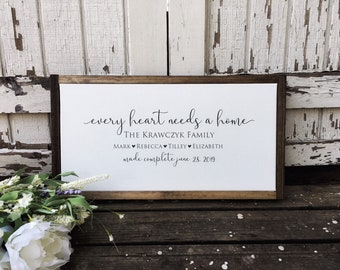 Personalized Adoption Gift, Every Heart Needs A Home, Family Name Sign for Weddings, Gotcha Day, Blended Families, This is Us