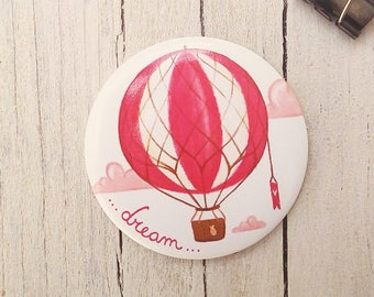 "Illustrated Magnet ""dream"" - Magnetic Fridge illustration with air balloon"