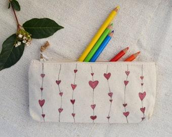 Handpainted Cotton  suitcase, hearts