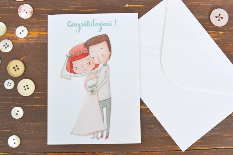 Auguri Di Matrimonio Originali : Biglietto d auguri per matrimonio con illustrazione etsy