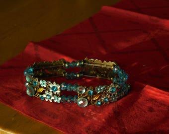 Teal Blue Crystal Cuff Bracelet