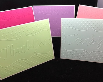Embossed Thank You Notes, Pack of Thank You Cards, Set of 10 Thanks yous, Graduation Thank you