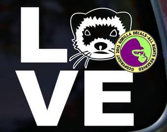 LOVE Word FERRET Weasel Ferrets Vinyl Decal Sticker